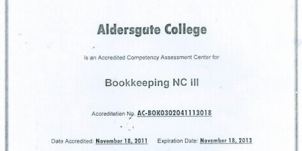 Certificate of Accrediation Bookkeeping NC II