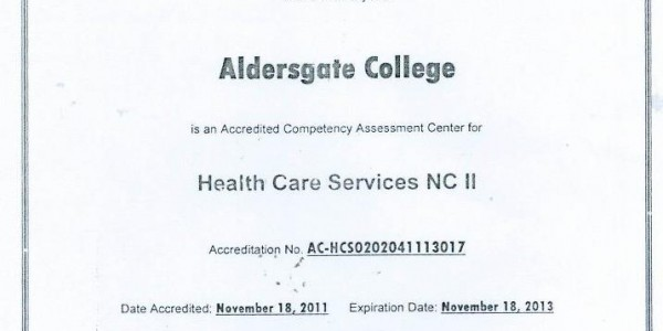 Certificate of Accreditation Health Care Services NC II