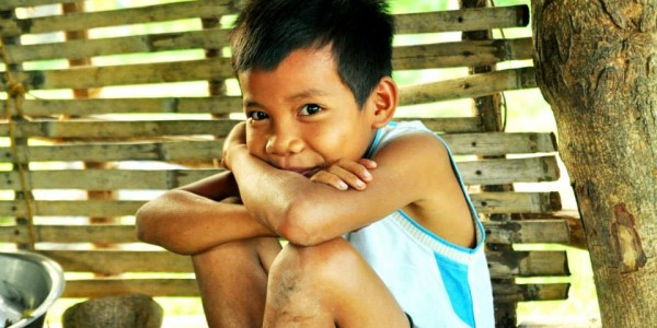 .. a mangyan boy giggle before the camera.. smile..
