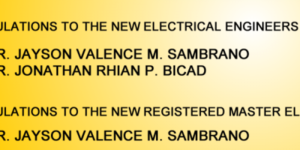 Congratulations to the 2017 Electrical Engineers & to the 2017 Registered Master Electrician