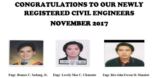 Congratulations to our newly registered civil engineers November 2017